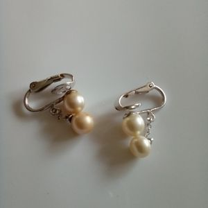 Trifari pearl silver clip back Earrings